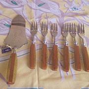 Vintage BAKELITE flatware Desert Set BARON SOLINGEN Two Toned Bakelite MIB Original Tag!