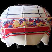 SALE Vintage Tablecloth Fruit Motif 48 x 48 Inches Mint Condition!