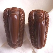 SALE GORGEOUS Vintage BAKELITE Dress Clips Art Deco Design Carved Deeply Pair - Chocolate Brow