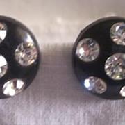 DAZZLING Vintage Plastic Earrings with RHINESTONES