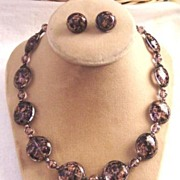 FABULOUS Vintage LUCITE Confetti Necklace and Earrings Demi-Parure LAVENDER Coloration