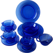 Vintage DEPRESSION Glass Cobalt Blue MODERNTONE Pattern Plates, Cups, Saucers, Bowl 10 Pieces