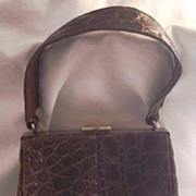 ELEGANT Vintage ALLIGATOR Purse Handbag Chocolate Brown