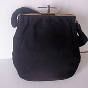 SALE Vintage Black Wool Felt Purse Handbag with LUCITE Closure and Brass Hardware!