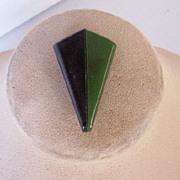 SALE Vintage BAKELITE Dress Clip, Laminated Bakelite, Art Deco Motif, Green and Black Bakelite
