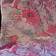 SALE Vintage BARKCLOTH Textile Fabric Tropical Floral Motif, 2 Yards, Mint Condition!