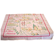 """Vintage NEW MEXICO State Tablecloth 34"""" x 32"""""""
