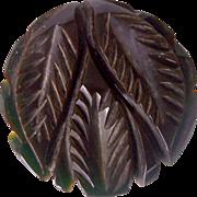SALE Vintage BAKELITE Dress Clip Carved Deeply Leaf Motif Jet Black Bakelite