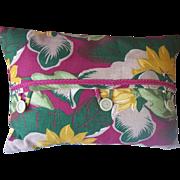 Vintage BARKCLOTH Textile Fabric Pillow with Vintage Trim and Buttons Tropical Floral Motif ..