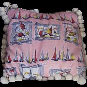 Vintage Cotton Textile Fabric Pillow Nautical Motif with Vintage Trim Mint!
