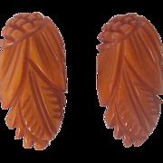 Vintage BAKELITE Dress Clips Pair Carved Very Deeply Pineapple Carvings and Leaf Motif Mint an