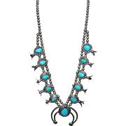 REDUCED Vintage Navajo Sterling Silver Turquoise Squash Blossom Necklace
