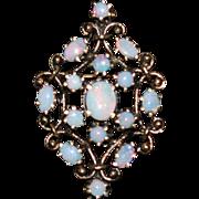 SALE Vintage Australian  Opal 14K Gold Pin Pendant