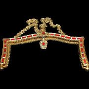 SALE Vintage Enamel Jeweled Purse Frame Handbag Ready
