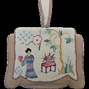 SALE Vintage Asian Figural Beaded Silk Stitch Purse