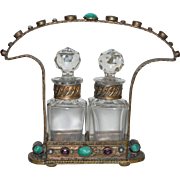 Vintage Austrian Czech Glass Perfume Scent Bottles in Jeweled Brass Caddy Holder