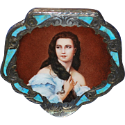 Large Vintage Italian  Enamel Silver Compact Beautiful Lady