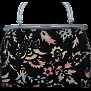 Vintage Purse 1940's Tapestry Leatherette Reversible  Handbag Unique