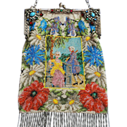 SOLD LAST CHANCE! Micro Beaded Courting Couple Figural Purse Jeweled  Enamel Frame