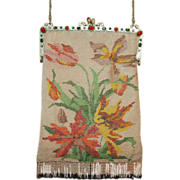 REDUCED HUGE REDUCTION Vintage 1920's Floral Beaded Purse Jeweled Frame