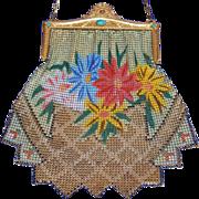 SOLD Marked Whiting and Davis Extra Large Flared Zigzag Skirt Design Enamel Mesh Purse Jeweled