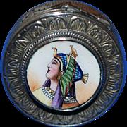Vintage Enamel Egyptian Motif Pill Patch Box