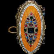 Austrian Jeweled Enamel Vanity Bag Compact Purse