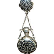 SALE Antique Russian 84 Standard Silver Niello Scent Bottle Chatelaine