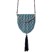 Whiting and Davis Fold Over Princess Mary Enamel Mesh Purse with Tassel
