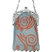 REDUCED Whiting and Davis Wildly Deco Enamel Mesh Purse