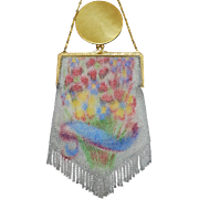 REDUCED Whiting and Davis Dresden Mesh Purse Floral Basket