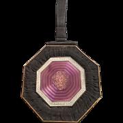 Purple Guilloche Enamel Black Suede Vanity Bag Purse