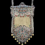 Vintage Mandalian Mesh Purse Lustre Pearl Eleven Drops Enamel Frame
