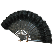 REDUCED Victorian Ostrich Hand Fan Sparkling Sequins
