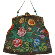 SOLD SOON TO BE REMOVED- LAST CHANCE!  Exceptional Unusual Floral Pattern Purse Austrian Jewel
