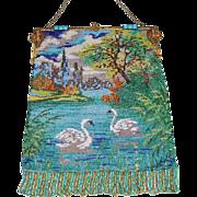SOLD Beautiful Double Swan Micro Beaded Purse Jeweled Frame