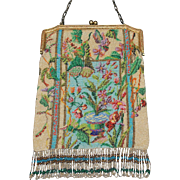 SOLD HUGE REDUCTION Asian Inspired Micro Beaded Floral Design Purse