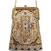 Whiting and Davis Metallic Mesh Purse Arabesque Design