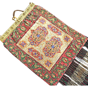 REDUCED TO BE REMOVED 8-31 LAST CHANCE Colorful Oriental Rug Pattern Steel Beaded Purse