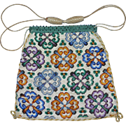 REDUCED Antique 19th Century Two Pattern Beaded Reticule Purse