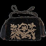 REDUCED Antique 19th Century Metallic Velvet Purse