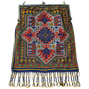 SOLD Sterling Frame Beaded Rug Pattern Purse Colorful