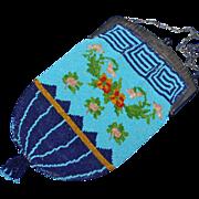 SALE Vintage Blues Floral Beaded Purse Greek Key Border Floral