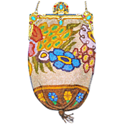 SALE Stunning Stylized Flowers Deco Purse Stand-up Enamel Jeweled Frame