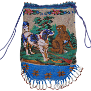 REDUCED Antique 19th Century Beaded Purse Dogs