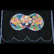 Art Deco Three Dimensional Felt Silk Embroidered Purse