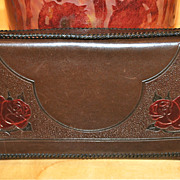 SOLD Vintage Tooled Leather Rose Motif Clutch Purse