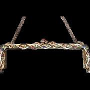 Jeweled Enamel Vintage Purse Frame Handbag Ready