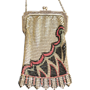 SALE LAST CHANCE! Wildly Deco Marked Whiting and Davis Enamel Mesh Purse