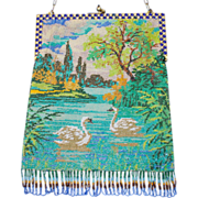HUGE REDUCTION Beautiful Swan Beaded Purse Enamel Frame Lake Scenic